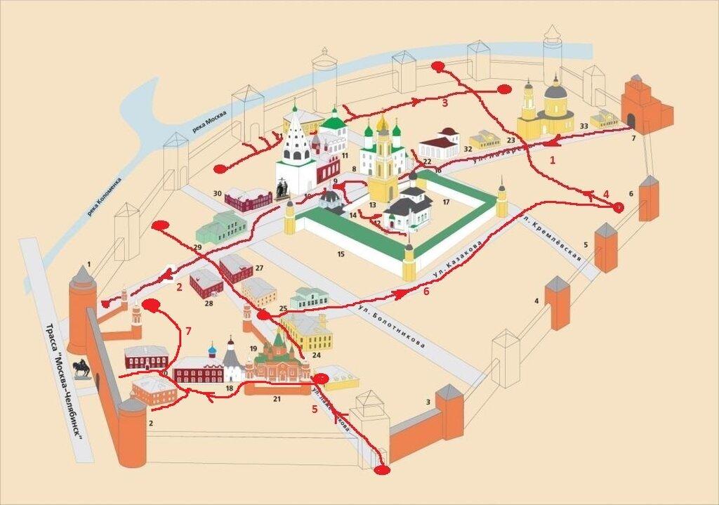 Схема кремля и маршрут 7й