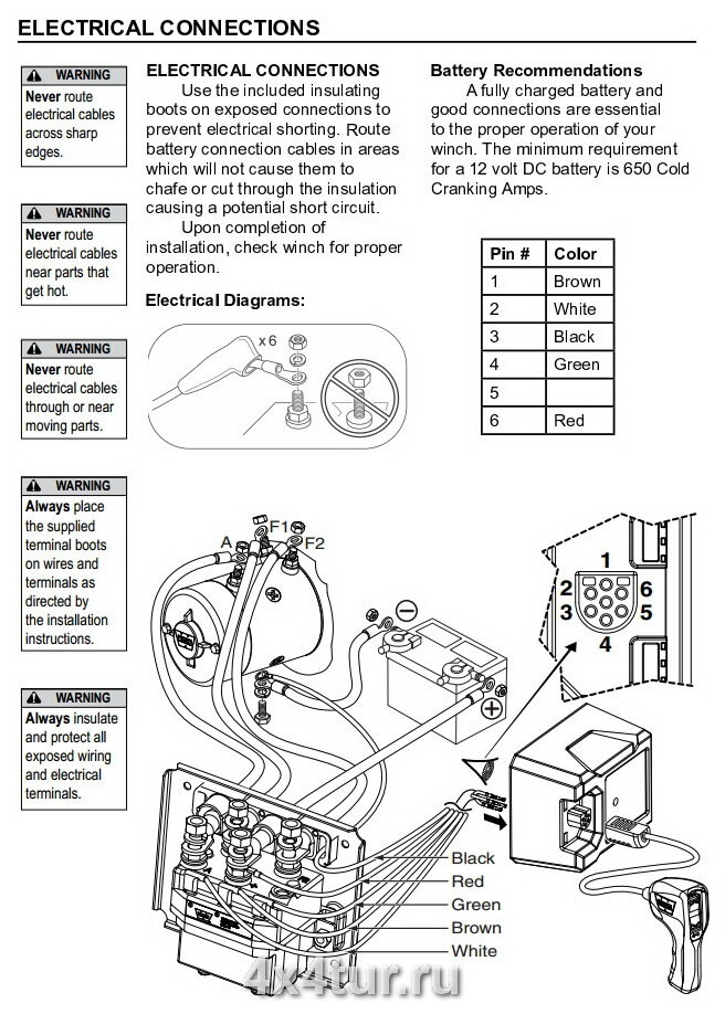 Схема подключения лебёдки
