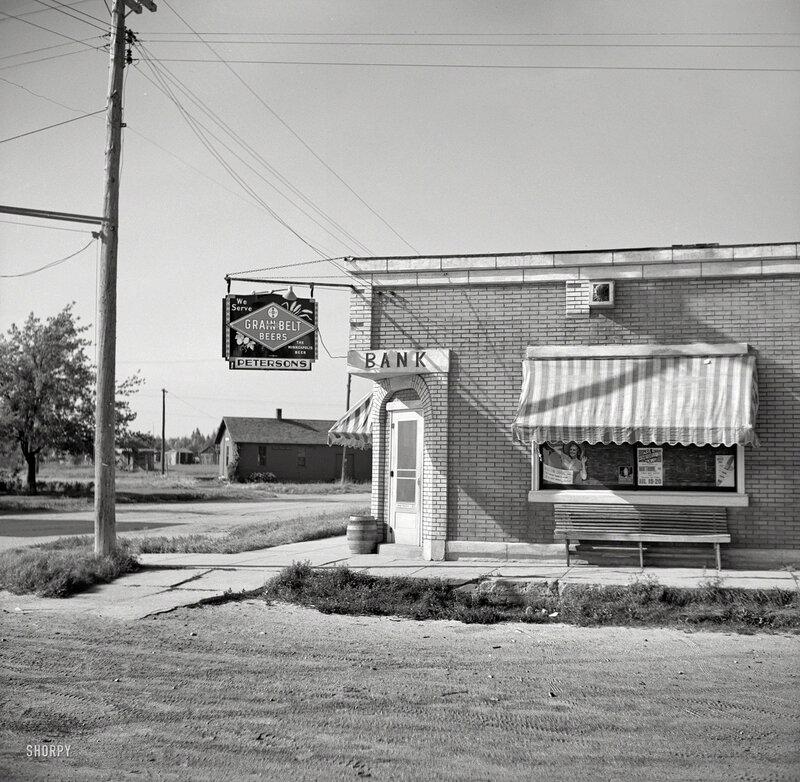 August 1937. Former bank, now a saloon. Mizpah, Minnesota