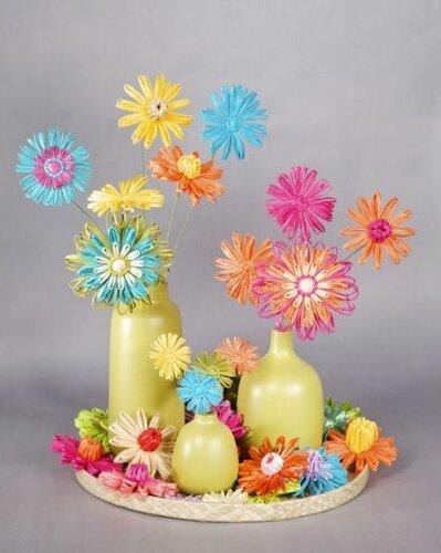 Цветы из рафии