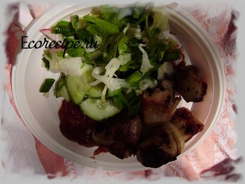 Шашлык из свинины с салатом