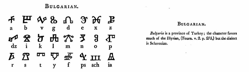 P. 22-23. BULGARIAN.Bulgaria is a province of Turkey; the character favors much of the Illyrian, (Fourn. v. 2. p. 275,) but the dialect is Sclavonian.