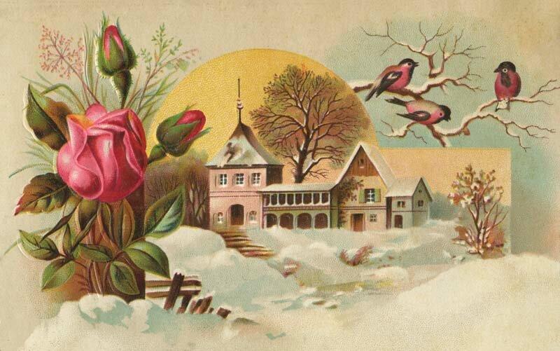 Ураза, природа на старинных открытках