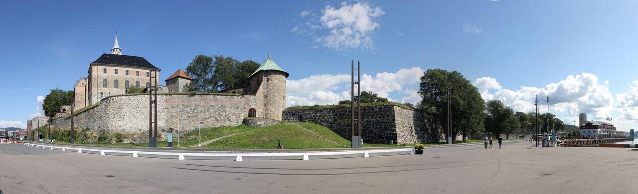 Осло. Крепость Акерсхус, Oslo, Akershus Festning, Akershus slott, panorama