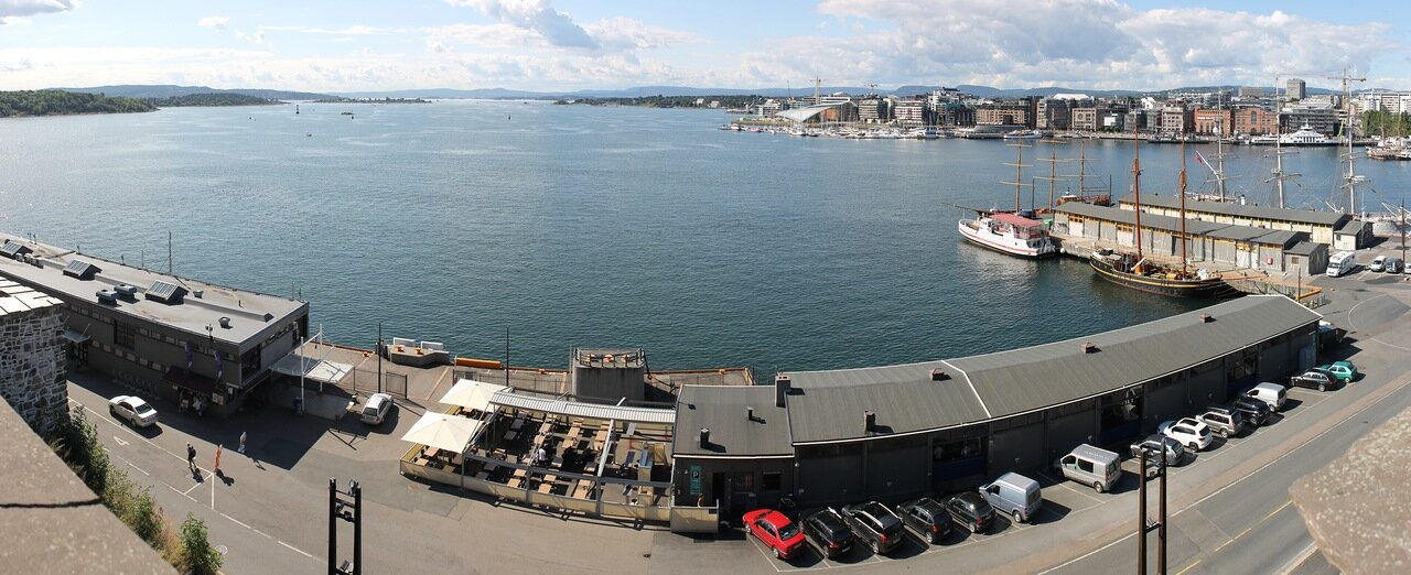 Oslo. Panorama of the Pipervika bay from Akershus fortress