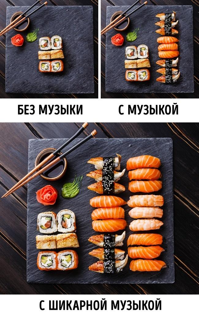 © lisovskaya/depositphotos  Под мелодичную, ненавязчивую музыку люди могут съесть гораздо боль
