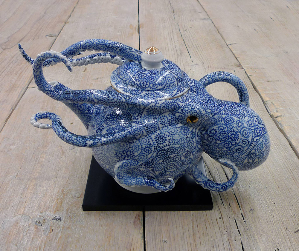 Octopi Embedded in Ceramic Vessels by Keiko Masumoto