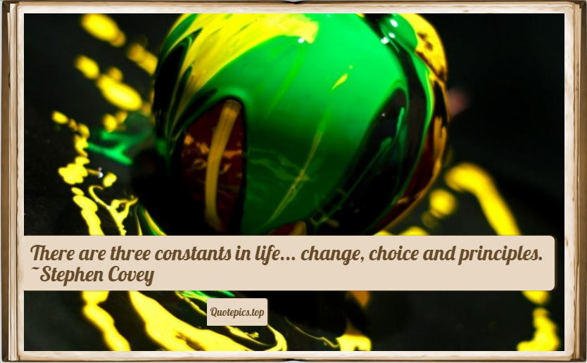 There are three constants in life... change, choice and principles. ~Stephen Covey
