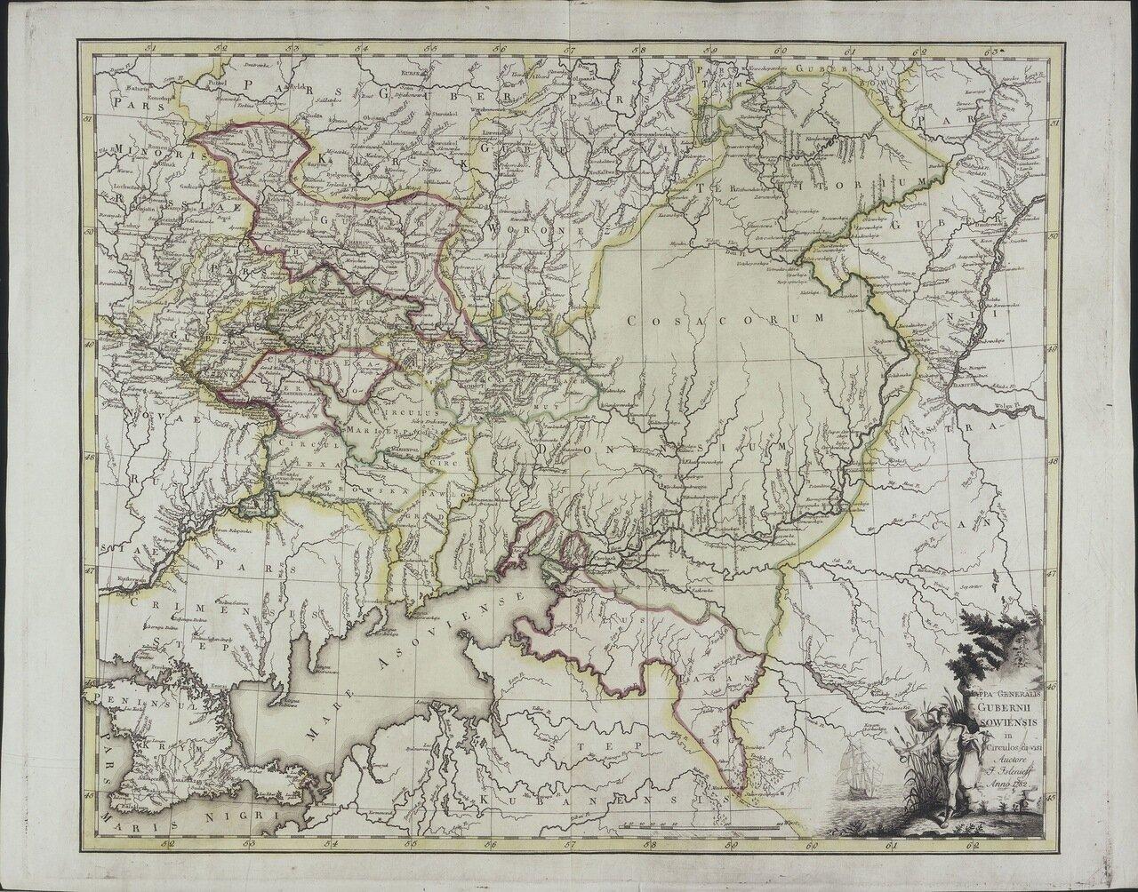 1782. Генеральная карта Азовской Губернии с ея Уездами