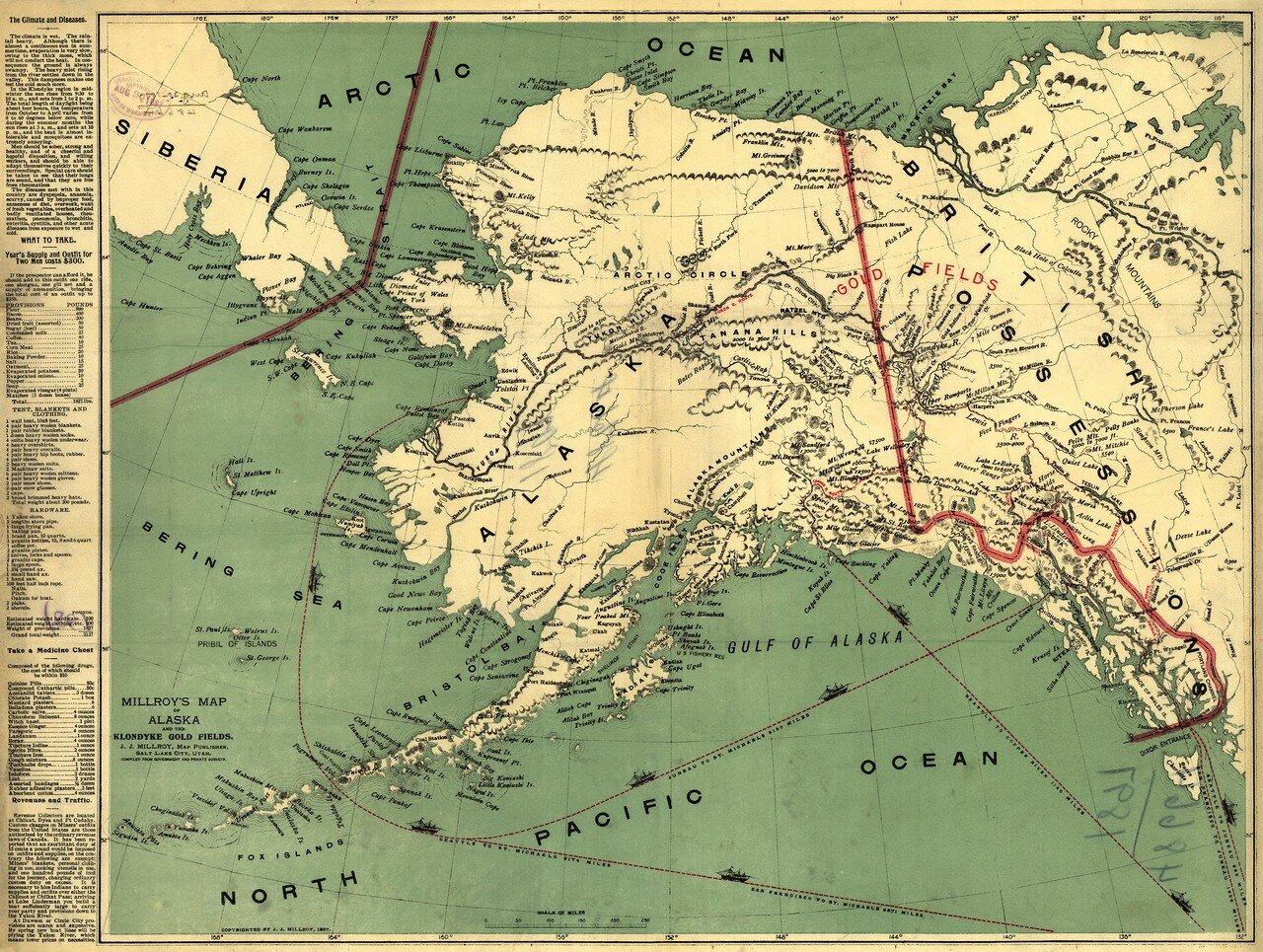 1897. Карта Аляски и золотых месторождений Клондайка Миллроя