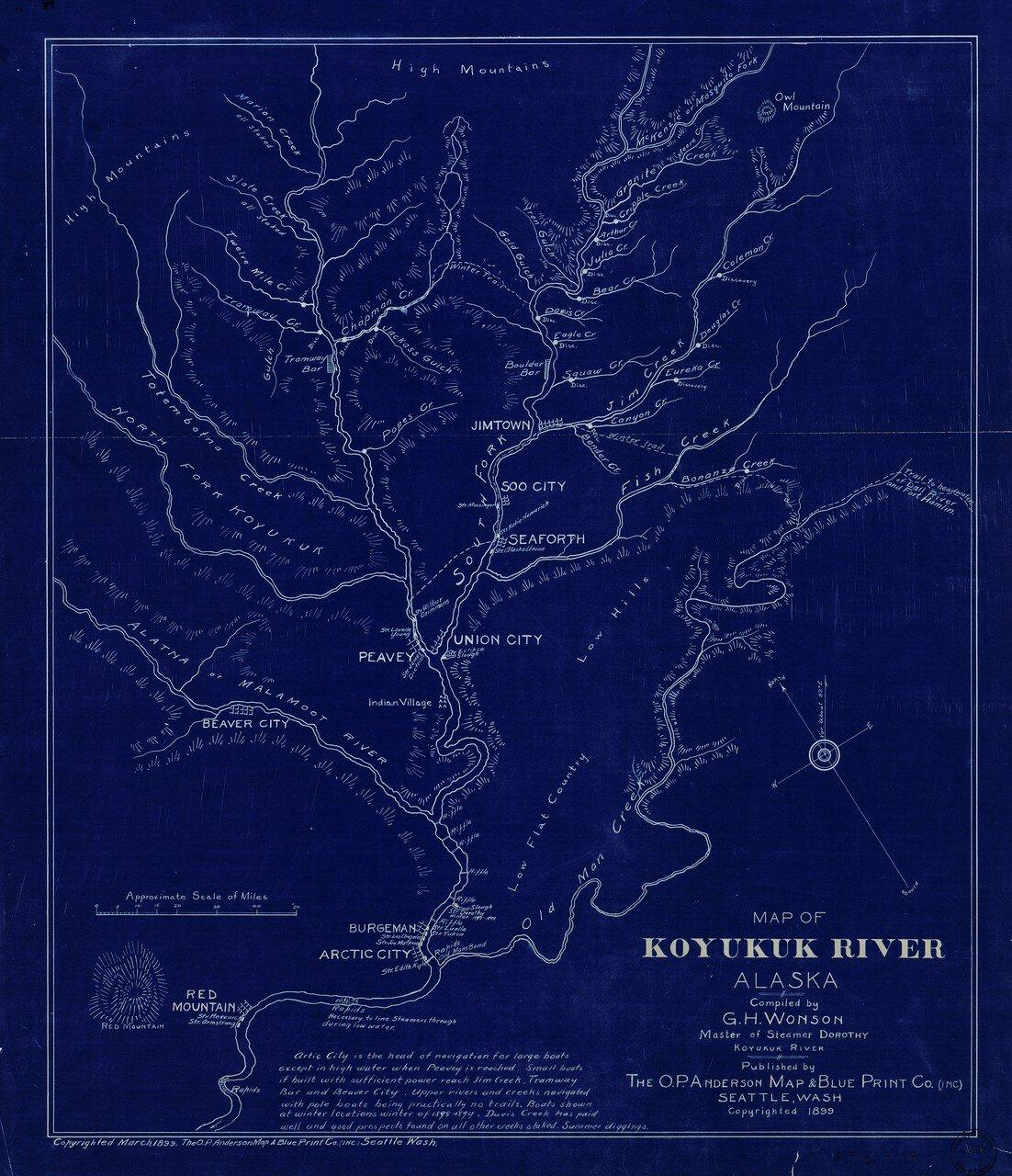 1899. Карта реки Коюкук на Аляске