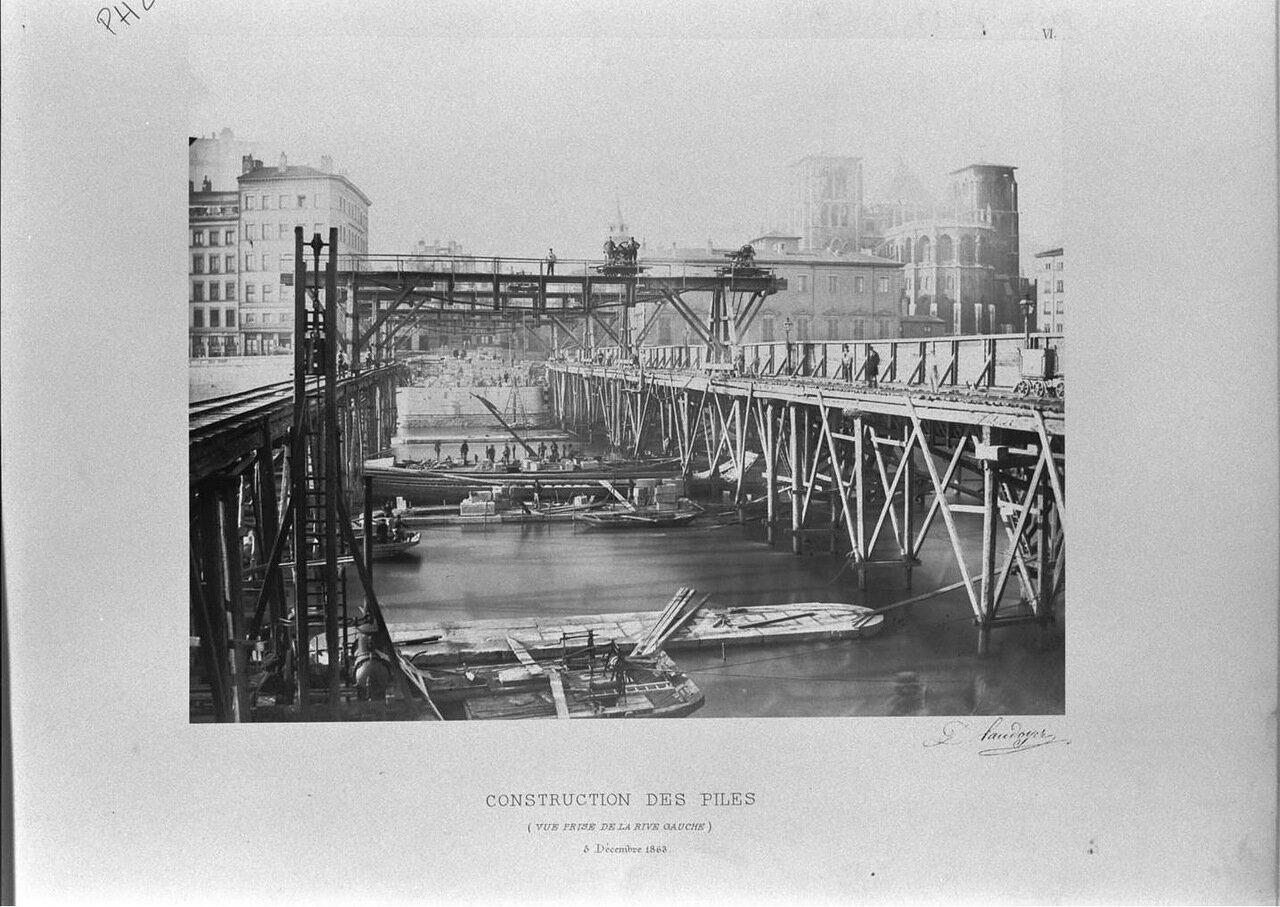 Строительство опор. Вид с левого берега 5 декабря 1863 года
