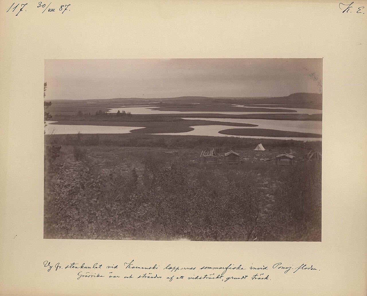 30.8.1887, утром. Вид саамской рыбачьей деревни на реке Поной