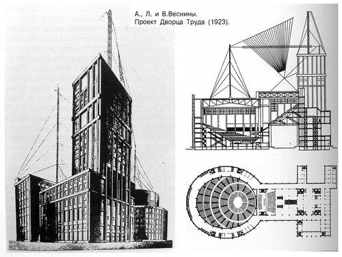 Проект Дворца Труда в Москве братьев Весниных, чертежи