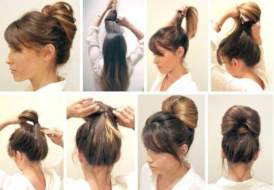 Высокие причёски на средние волосы своими руками