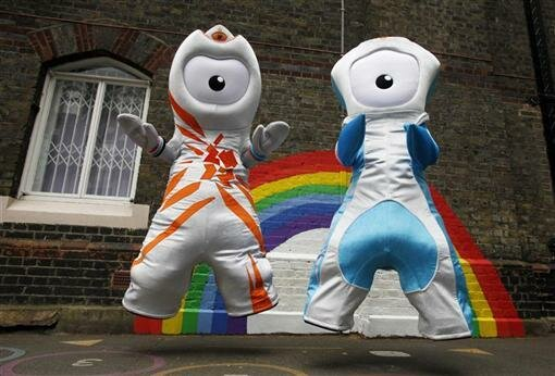 The 2012 Olympic mascot Wenlock and Paralympic mascot Mandeville pose for photographers in the playground at St. Paul's primary school  in London