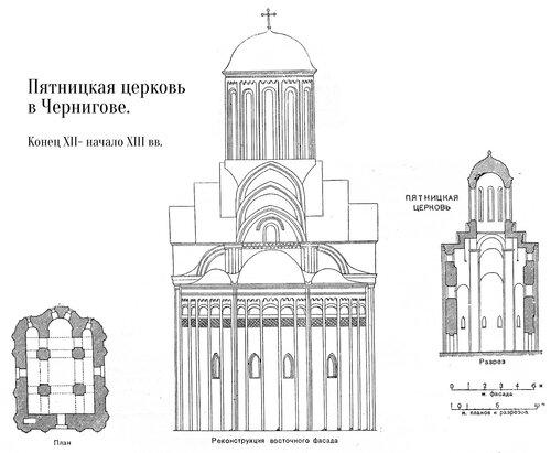Пятницкая церковь в Чернигове, чертежи
