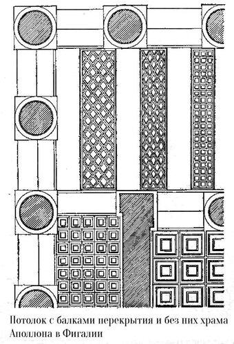 Храм Аполлона в Бассах, потолок с балками перекрытия и без них