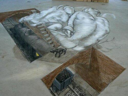 3д рисунки на асфальте