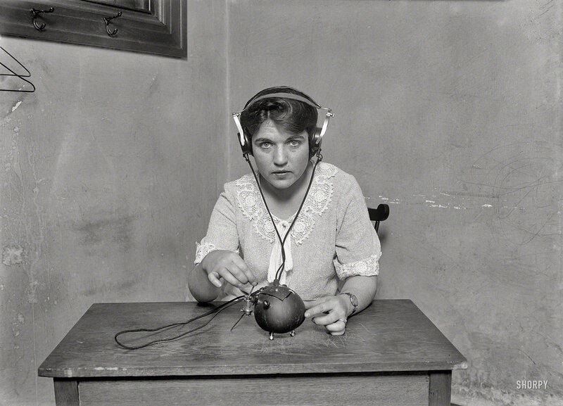 June 1924. Washington, D.C. Radio nut -- this set with everything necessary for receiving music and speech by radio has been put into a coconut shell