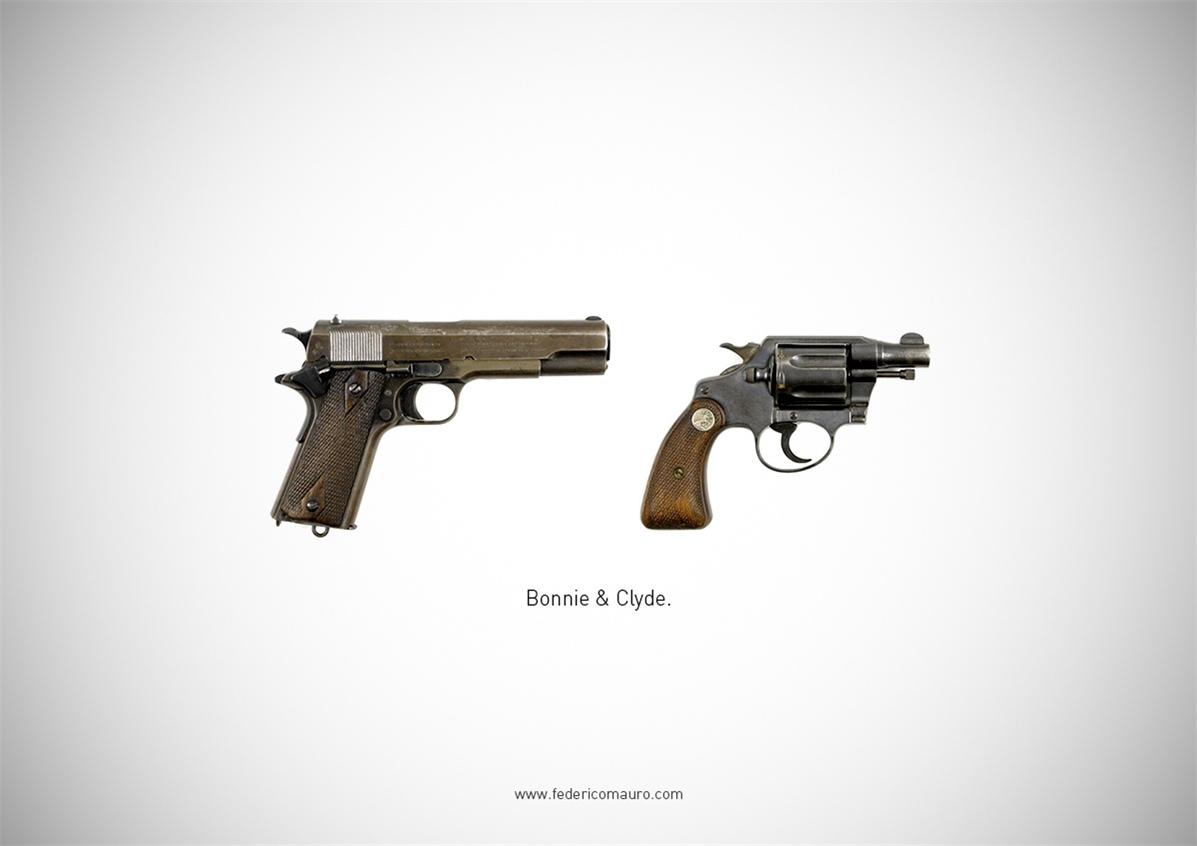 Знаменитые пушки - оружие культовых персонажей / Famous Guns by Federico Mauro - Bonnie & Clyde