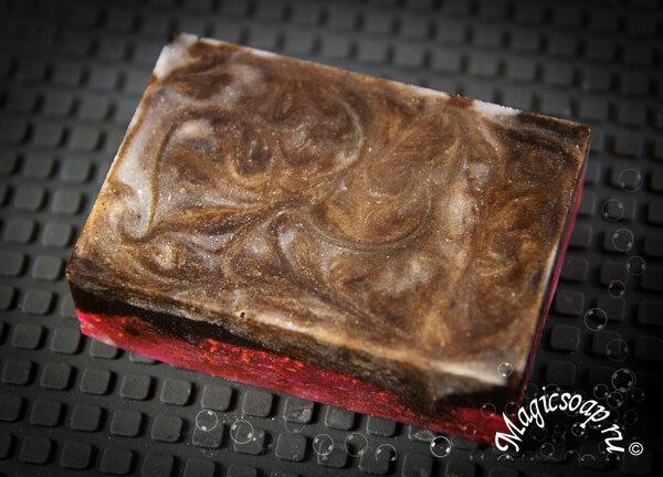 Мыло-скраб с корицей и семенами малины из основы для свирлов, мыло со свирлами из основы