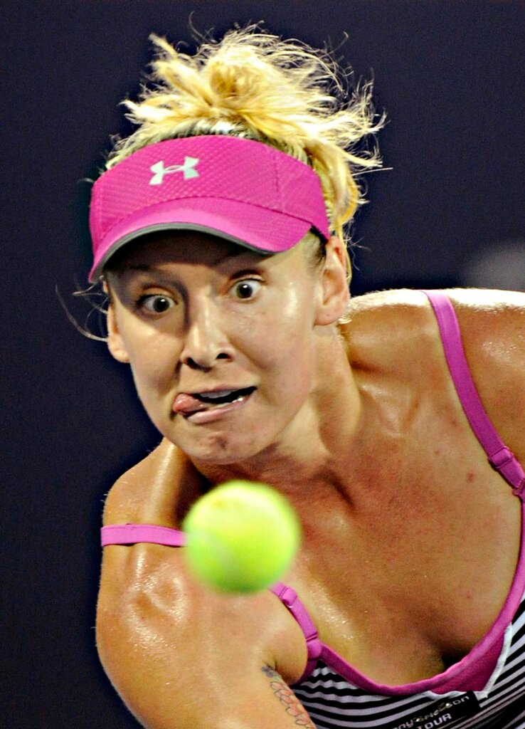 Tennis player  Bethanie Mattek-Sands is all eyes on the ball during her match against Kim Clisjters. She was defeated in two sets.