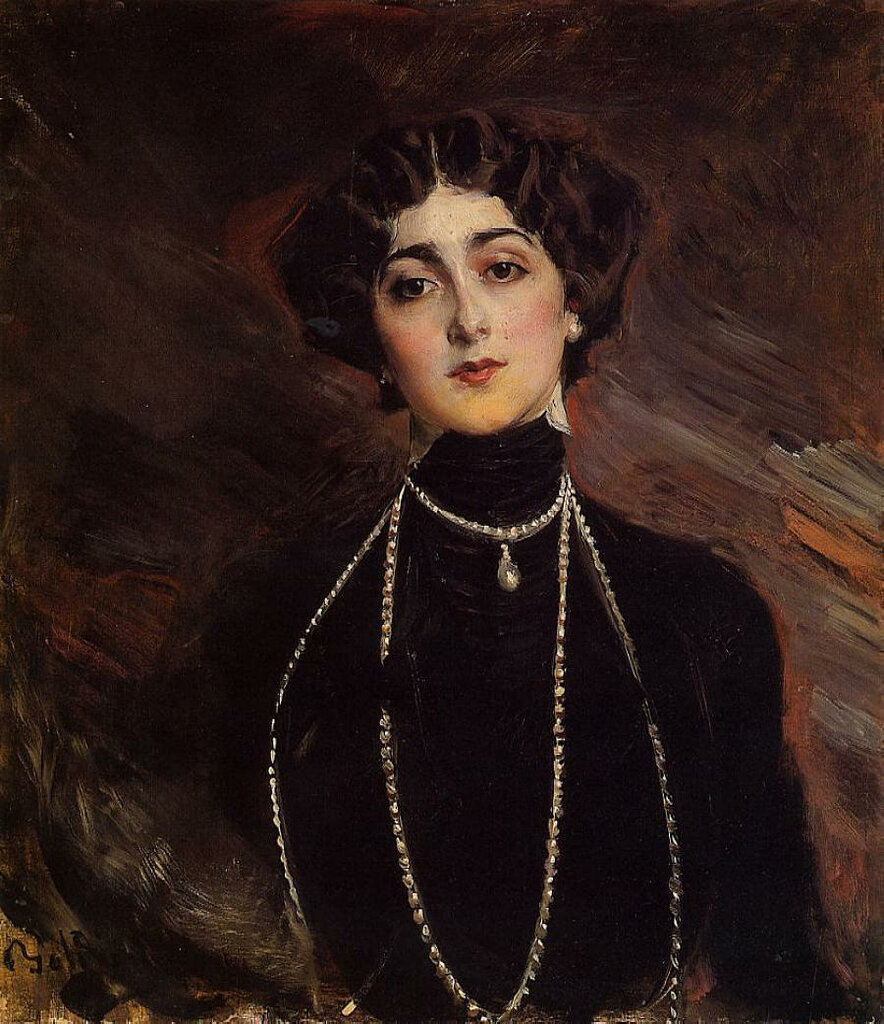 Giovanni Boldini (1842-1931)<br ></img> Portrait of Lina Cavalieri<br /> Oil on canvas, c.1901<br /> Public collection