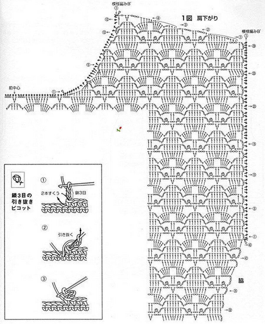 Японские схемы летних кофточек крючком