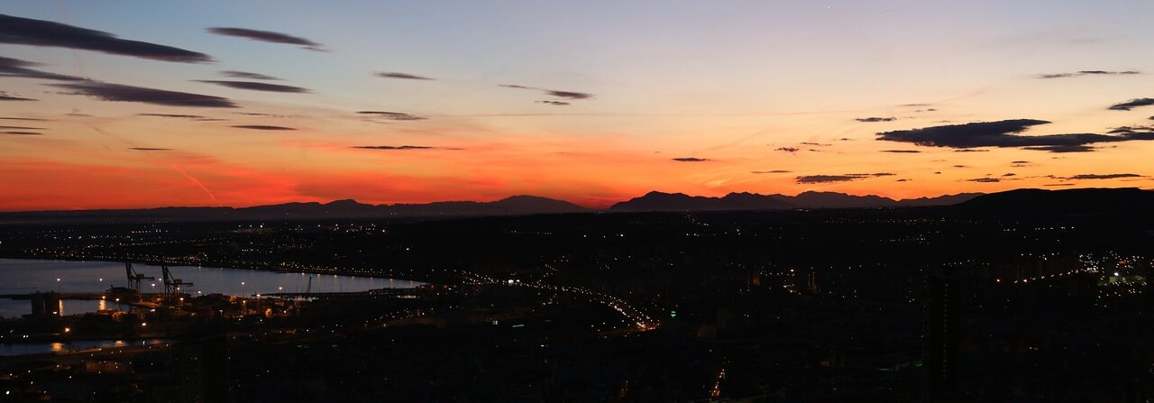 Закат в Аликанте. Вид из крепости Санта-Барбара