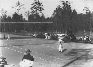 Игрок берет мяч у сетки