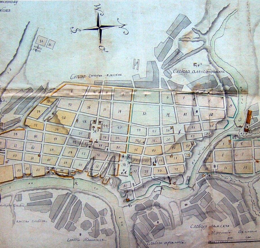 Фрагмент плана города Ельца 1791 г.