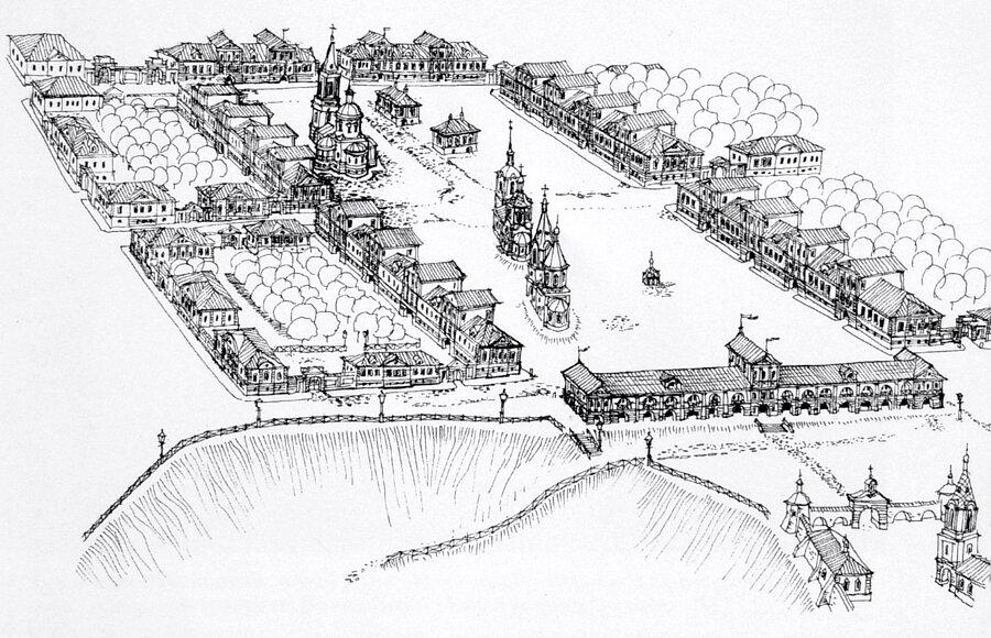 Красная площадь Ельца в конце XVII в. Рис. А.В. Новосельцева