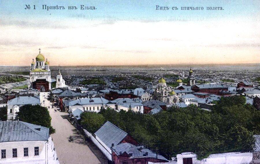 Вид на центральную часть Ельца с пожарной каланчи. Открытка начала XX в.