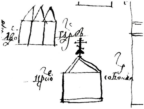 Изображение Воскресенского собора на плане Ельца