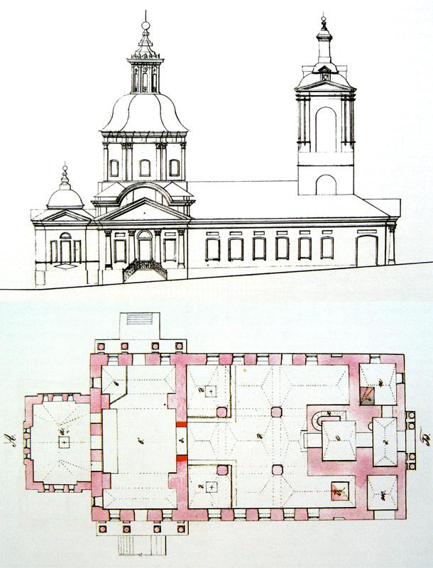 Фасад и план Преображенской церкви середины XIX в.