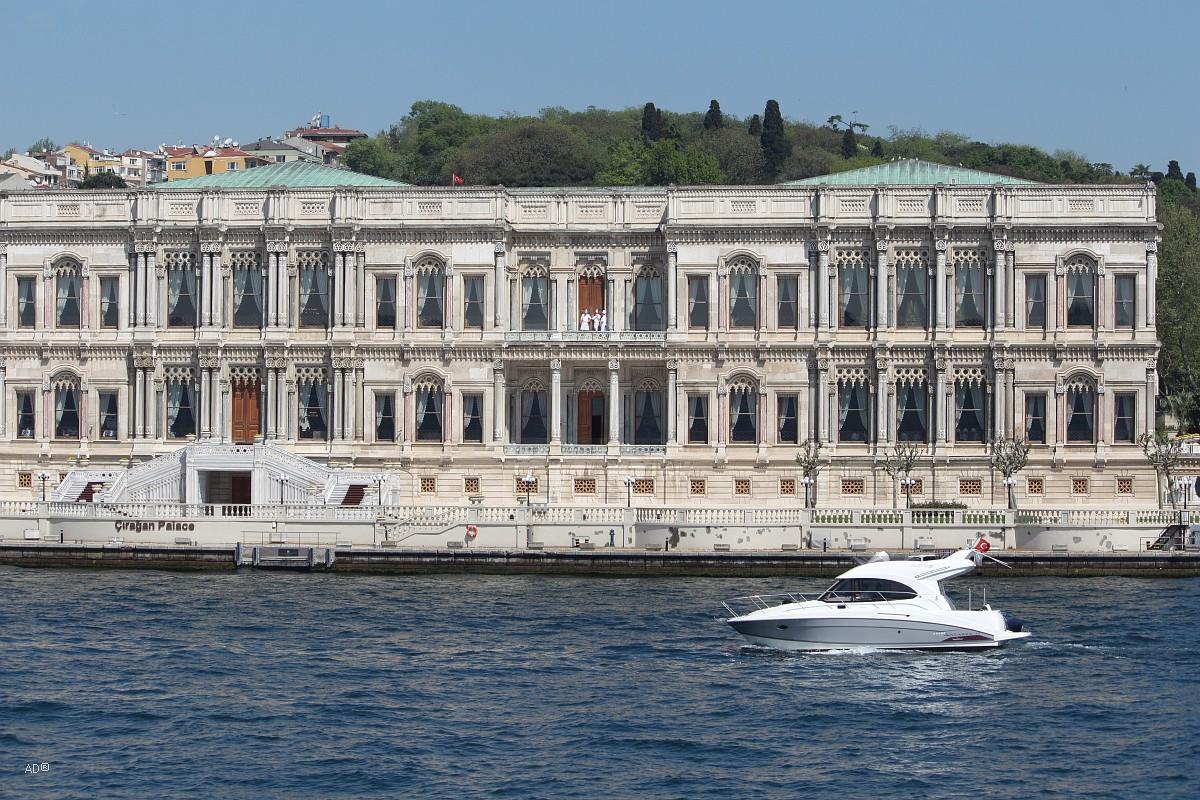 Стамбул 2015 - Длинный тур по Босфору - Виды на «Дворец Чираган»