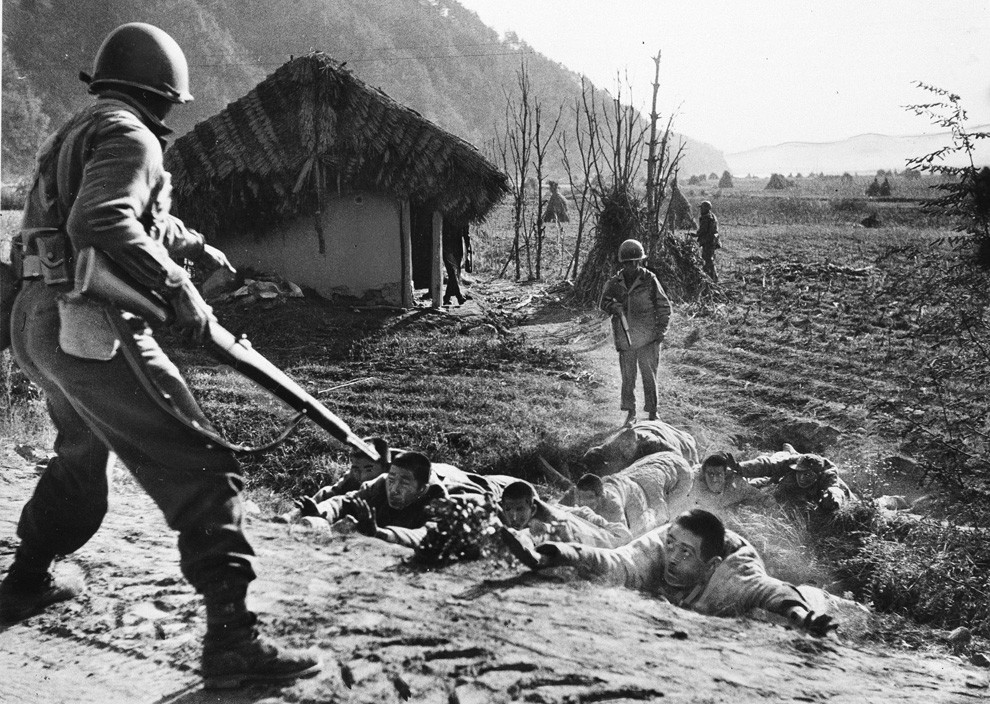 Prisoners are flushed out by a U.S. patrol operating in North Korea south of Kusong, Nov. 16, 1950