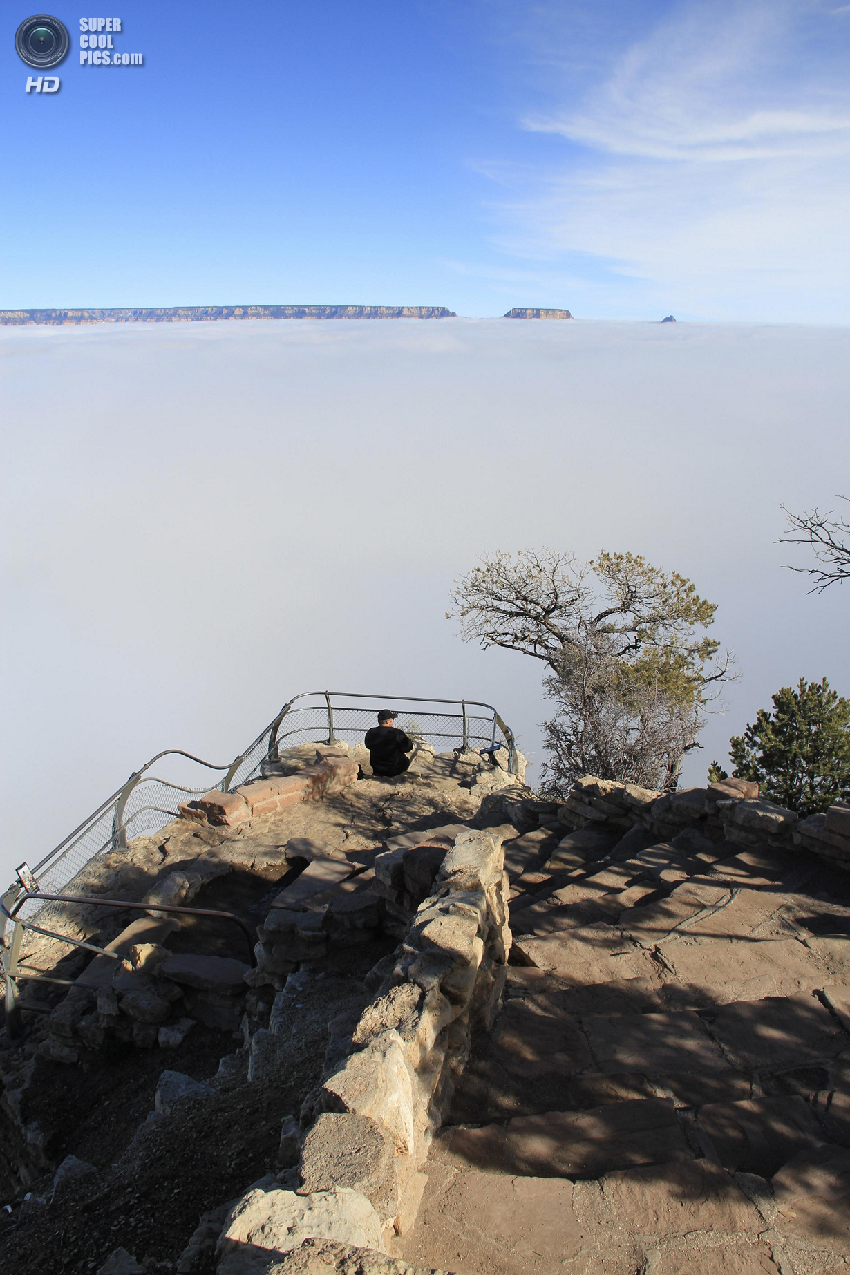 A rare total cloud inversion is pictured from Yavapai Point on the South Rim of the Grand Canyon National Park in Grand Canyon, Arizona