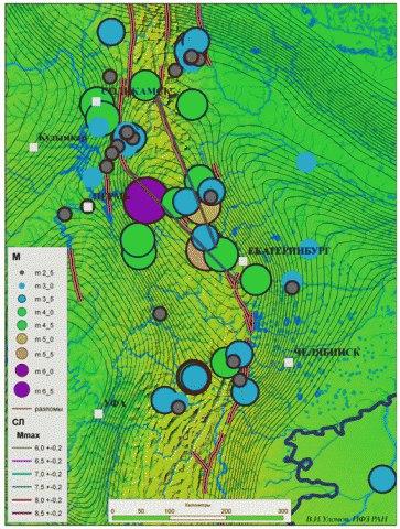 Златоуст и Миасс на карте общего сейсмического районирования территории России