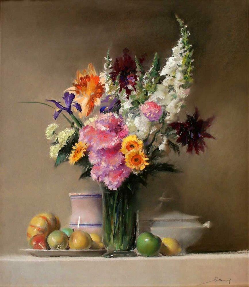 Натюрморты с цветами пастель