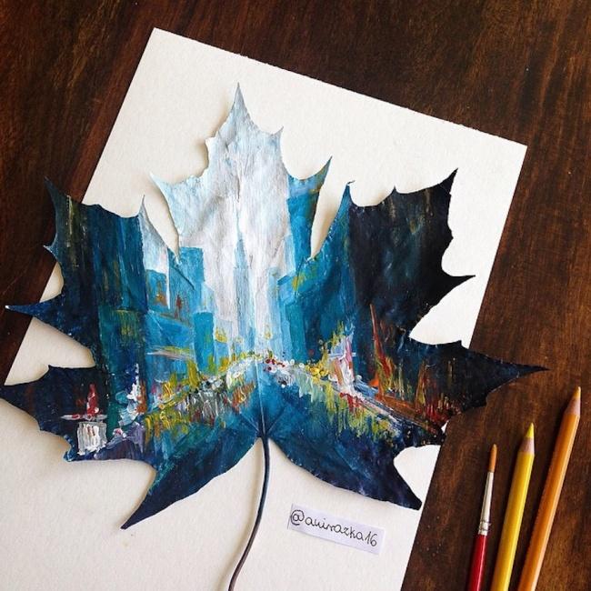 Художница-самоучка превращает осенние листья впотрясающие картины (9 фото)