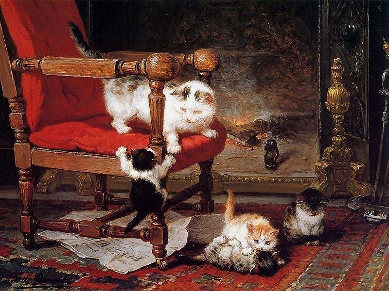 Кошки-шалунишки художницы Henriette Ronner-Knip