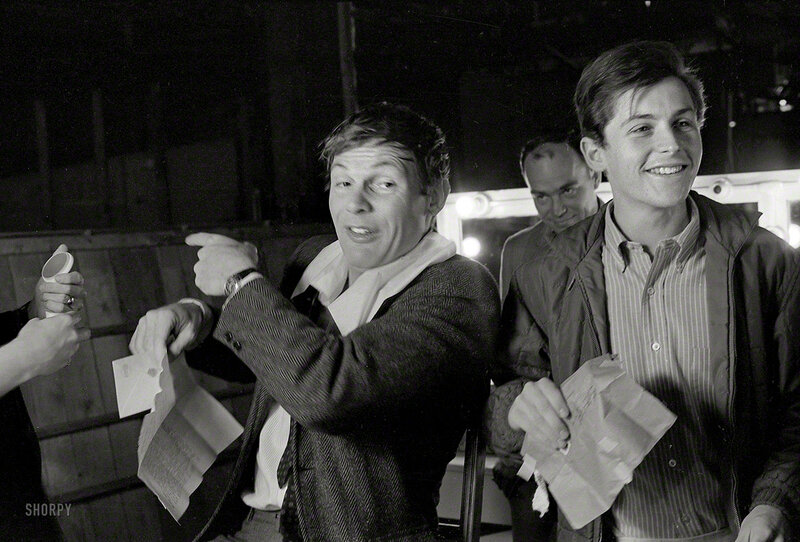 Batman (Adam West) (l) and Robin (Burt Ward)(r) on the set of Batman in 1966