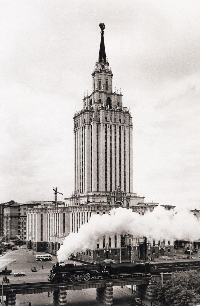 Hotel Leningrad. The steam locomotive. 1950s.