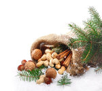 Nuts and spices in winter snow