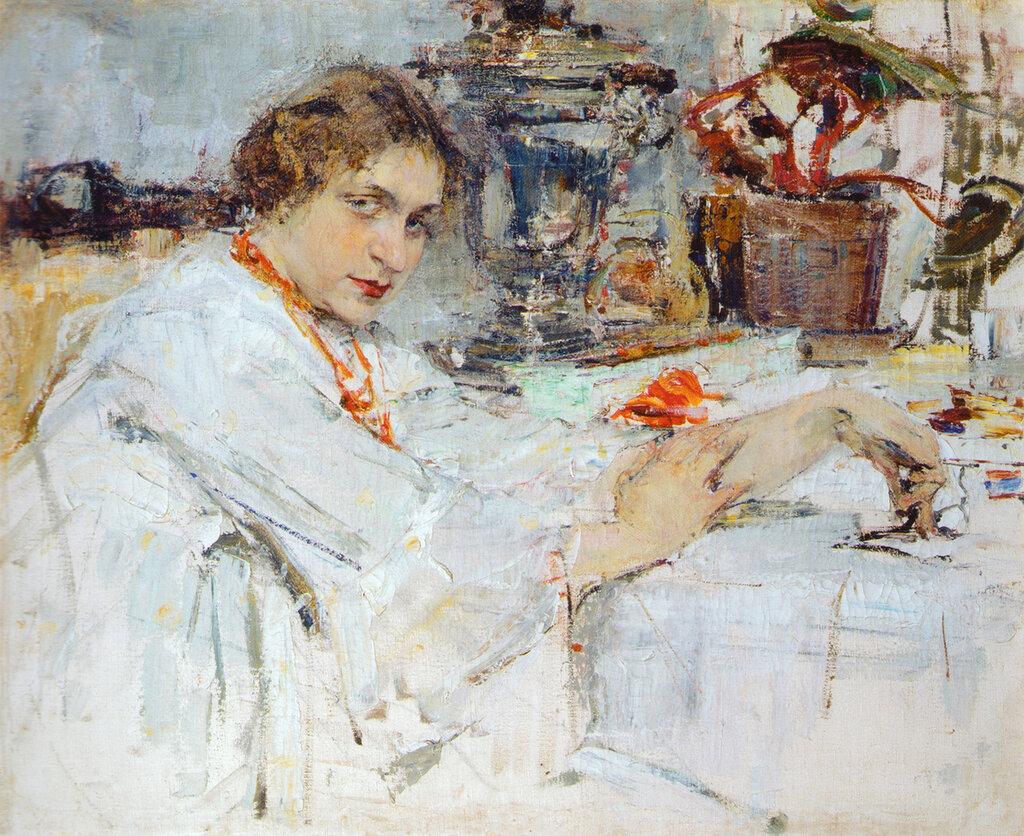 За самоваром. Портрет О.М.Ясеневой (1913).jpg