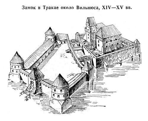 Замок в Тракае, аксонометрия