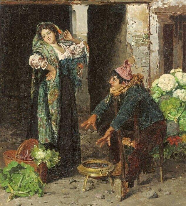U. A. Voltini (Italian, 19th - 20th Century) Flirtation