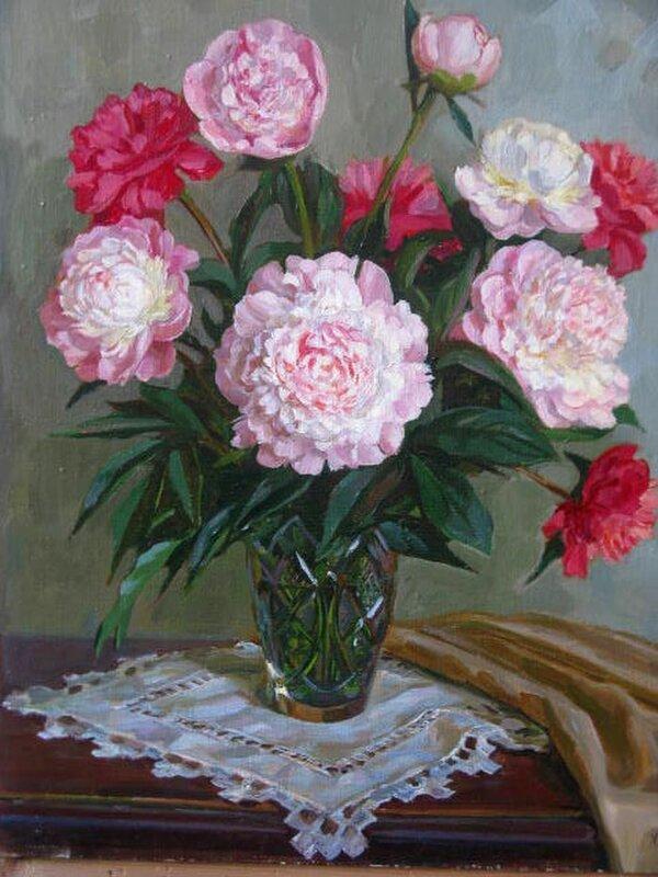 Хохловкина Эльза. Пионы розовые и красные